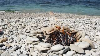 Sea, fire, rocks, nature.  Relaxing Video