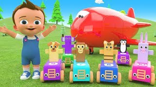 Learn Colors & Numbers for Children with Wooden Animal Toy Cars Fun Play 3D Kids Education