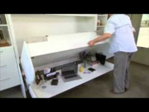 Hiddenbed New Zealand | Folding Wall Beds Desk Study in one - YouTube