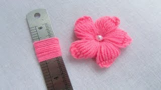 Hand Embroidery Amazing Trick, Easy Flower Embroidery Trick, Woolen Flower Embroidery Trick