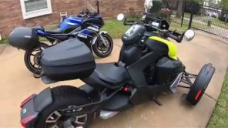RYKER: OEM accessories review, sport windshield, saddlebag mount, smartphone mount, LinQ top case