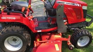 massey ferguson gc 1705, walk through and mowing