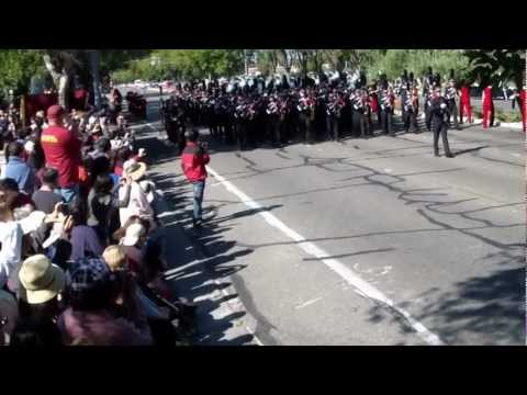Saratoga High School Marching Band performs in the TOB in Cupertino, CA Oct 13, 2012