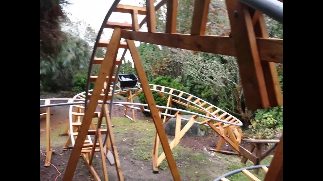 Roller Coaster In My Backyard : 3D Backyard Roller Coaster Track Test Run  YouTube