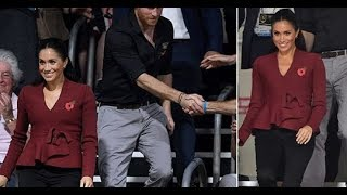 Meghan pregnant is casual chic as she and Harry attend an Invictus Games basketball final