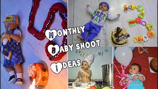 Monthly Baby Shoot ideas at Home | Newborn to 12 months | Month by Month
