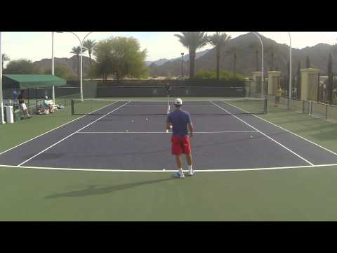 2014 Indian Wells: Ernests Gulbis and Dominic Thiem Rear View
