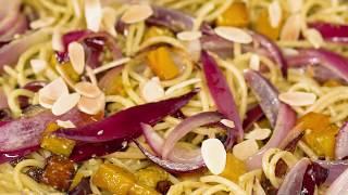 Spaghetti 5 Cereali ao Pesto e Abóboras Assadas