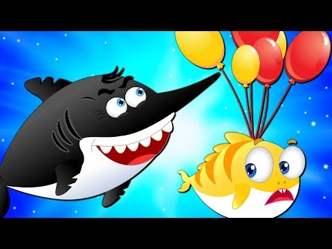 Flying Shark Blowing Up Balloons of Baby Shark | Songs & Cartoons for Kids
