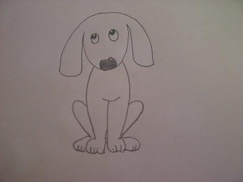 Видео как нарисовать собаку для начинающих