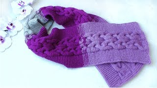 "Children's knitting scarf /// Diagram of the pattern ""Braids"" /// Detailed MK."