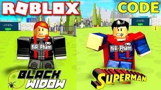 Roblox   BLACK WIDOW KIA CHUYỂN GIỚI BIẾN THÀNH SUPERMAN - Superhero Simulator (Code)   KiA Phạm