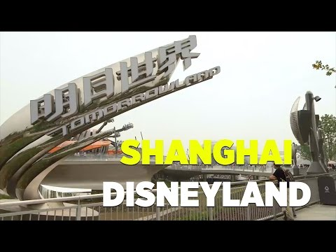 Tomorrowland overview with TRON, Buzz Lightyear rides at Shanghai Disneyland