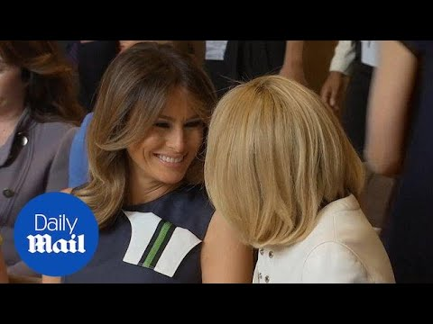 Melania Trump chats cheerfully with Brigitte Macron in Brussels - Daily Mail