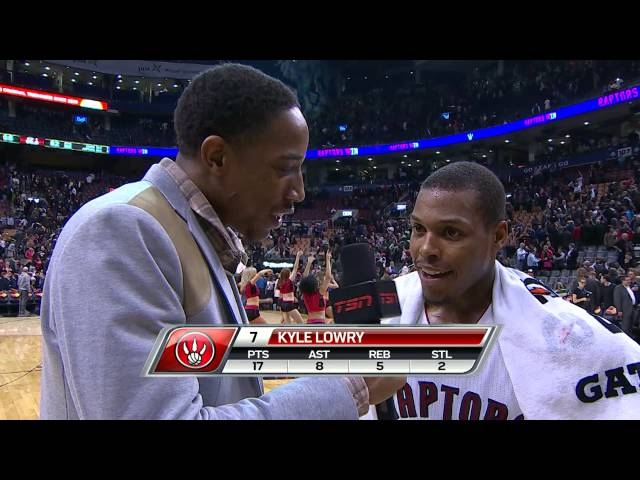 DeMar DeRozan Conducts Post-Game Interview with Lowry