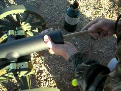 First firing of hand made 1/4 scale Civil War black powder golf ball cannon