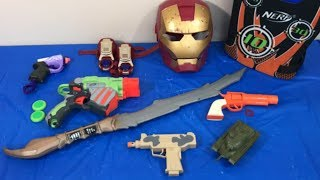 Box of Toys Toy Guns NERF Guns Ironman Sword Military Tank