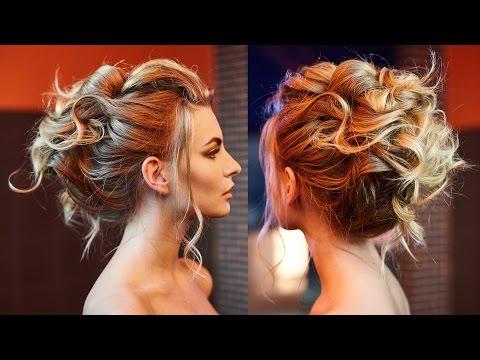 Простая прическа на средние волосы с собранными волосами
