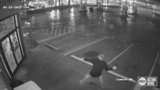 Video: Suspect throws brick 19 times at gas station door before giving up