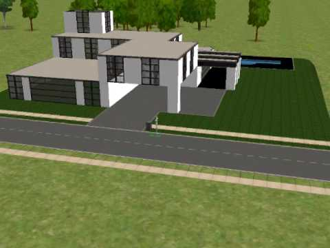 The sims 2 building a modern house part youtube for Minimalist house sims 2