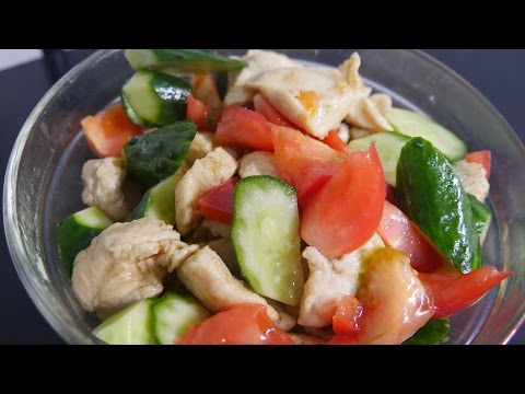 Chicken, Tomato and Cucumber Salad Recipe - Japanese Dish with Summer Vegetables