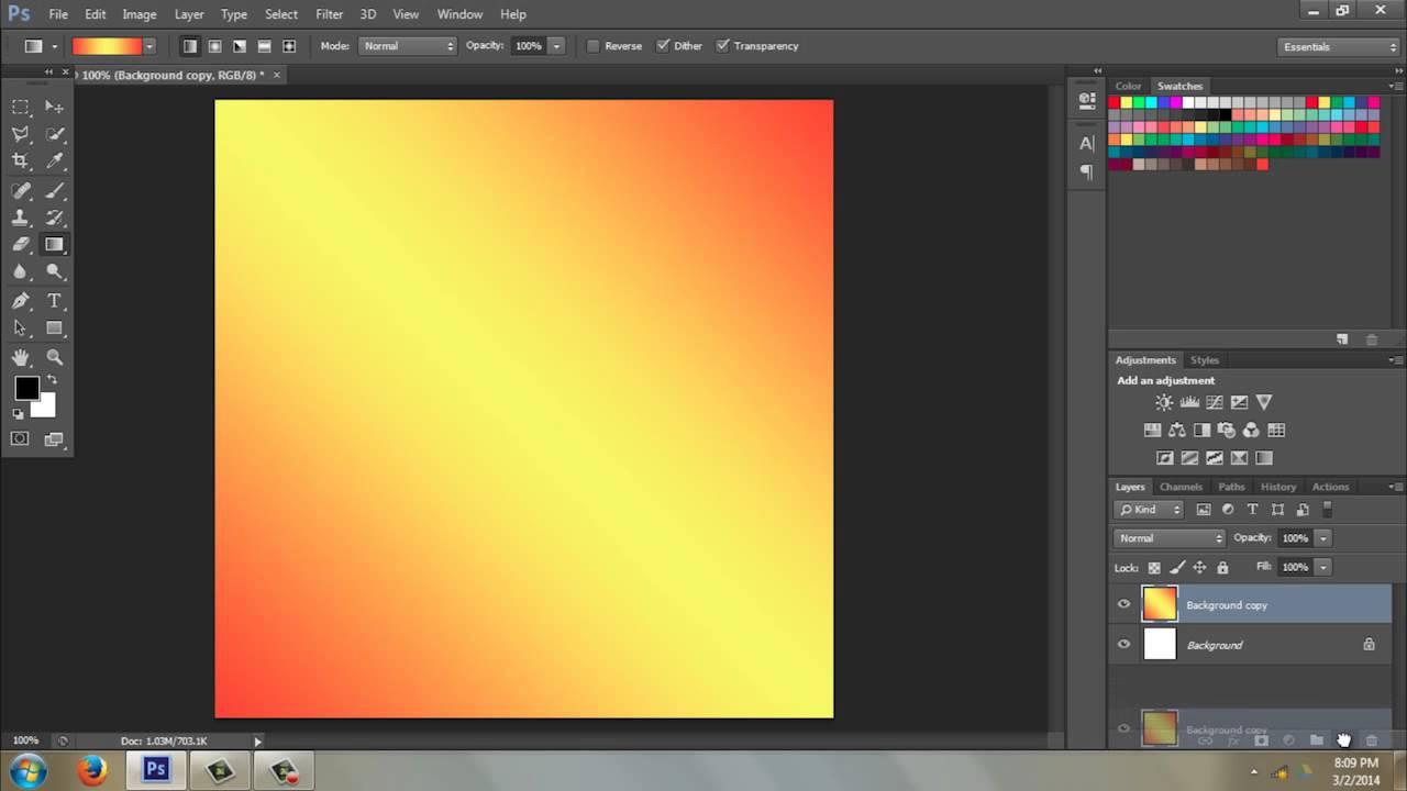 photohop how to make gradient colour