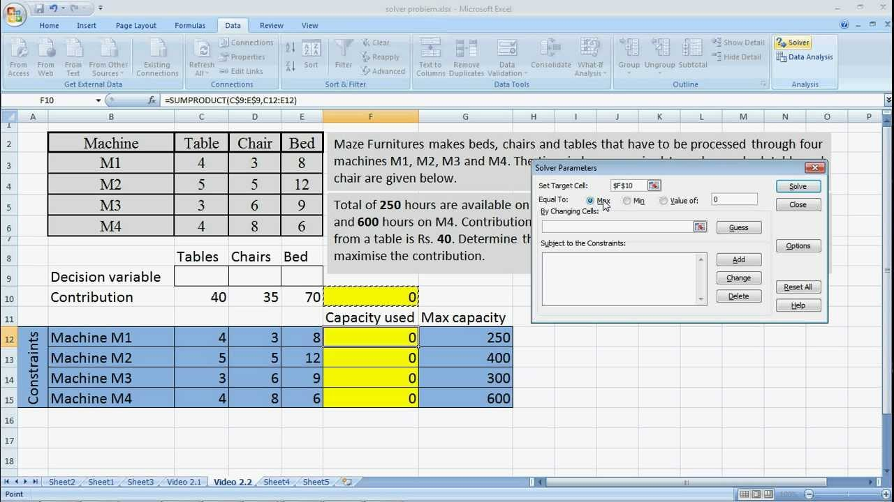 ms excel solver with sumproduct  linear programming