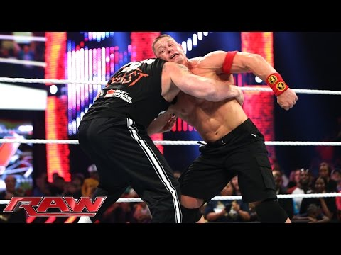 John Cena and Brock Lesnar brawl before Night of Champions: Raw. Sept. 15. 2014