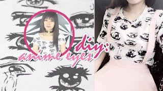 DIY: ROPA KAWAII | CROP TOP OJOS ANIME | Anime Eyes T-shirt | AKARI BEAUTY