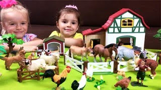 Lots of Toys Farm Animals for Kids - Horses Dog Cat Cow Goat - Learn Animal Sounds