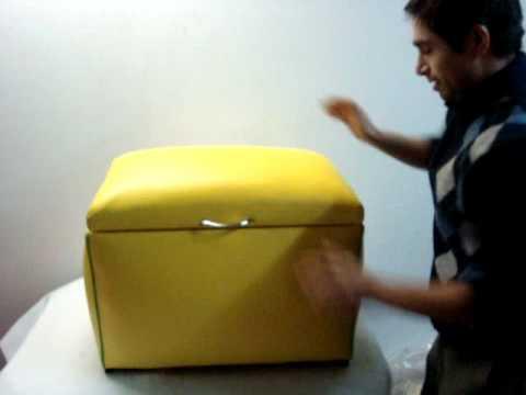 Baul amarillo sobrio y elegante perfecto para tu hogar - Como forrar muebles con tela ...