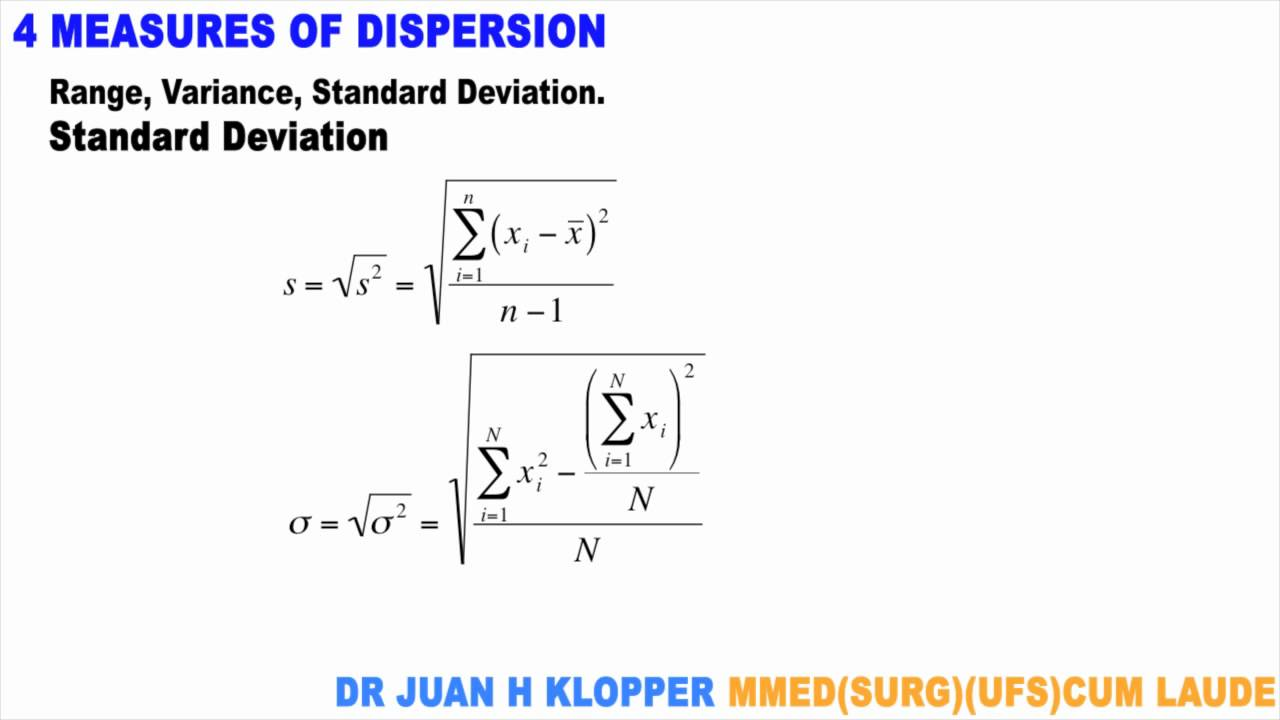 measure of dispersion Two kinds of statistics are frequently used to describe data they are measures of central tendency and dispersion these are all measures of dispersion.