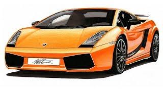 Realistic Car Drawing - Lamborghini Gallardo Superleggera - Time Lapse