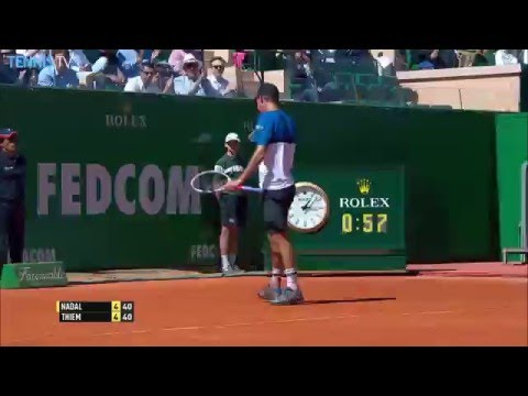Two extraordinary backhands from Dominic Thiem v Rafa Nadal at 2016 Monte-Carlo Rolex Masters