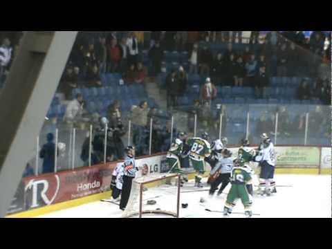 hockey fight-donald brashear pete les plombs vs caron et guay et vs fans lnah