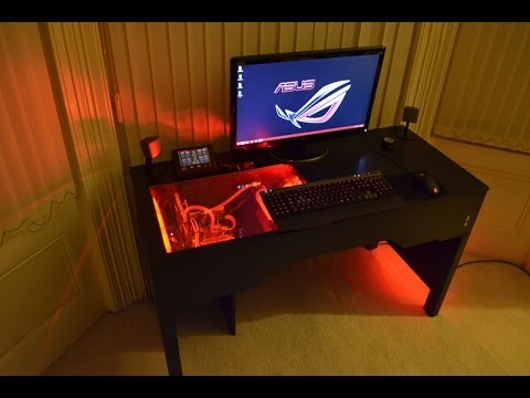 Custom watercooled pc within a desk design build unity - Best computer table design for home ...