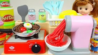 Play Doh noodle spaghetti cooking toy and Kinder Joy Surprise eggs Baby Doll toys