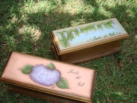 Pintura decorativa cajas de té pintadas a mano