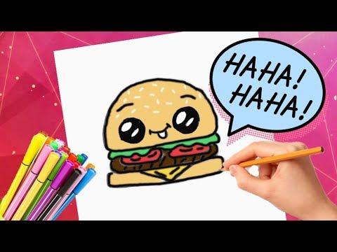 КАК НАРИСОВАТЬ КАВАЙНЫЙ ГАМБУРГЕР/How to Draw a Cartoon Hamburger KAWAII