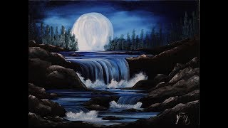 Moon River Step by Step Acrylic Painting on Canvas for Beginners