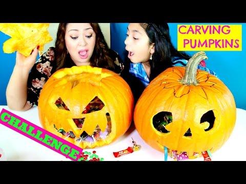 Pumpkin Carving CHALLENGE!! Pumpkin Piñata |B2cutecupcakes