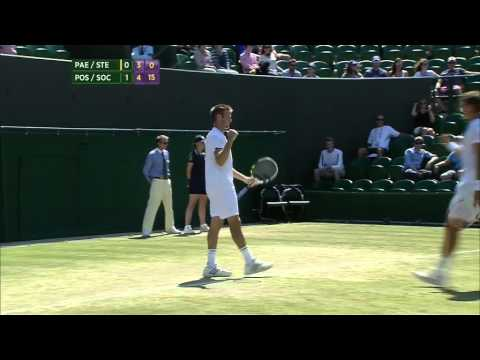 ATP 2014 Wimbledon Doubles SF Stepanek Paes vs Sock Pospisil ENG 504p ESPN3