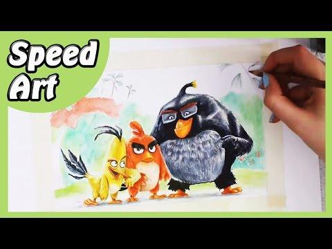 ANGRY BIRDS | Speed Art di Red, Chuck e Bomb! [HD]