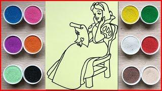 Đồ chơi trẻ em TÔ MÀU TRANH CÁT CÔNG CHÚA BẠCH TUYẾT - Colored sand painting toys (Chim Xinh)