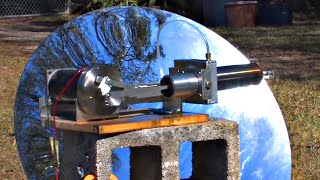 Large Stirling Engine Water Cooled Parabolic Mirror Solar Power Electric Generator