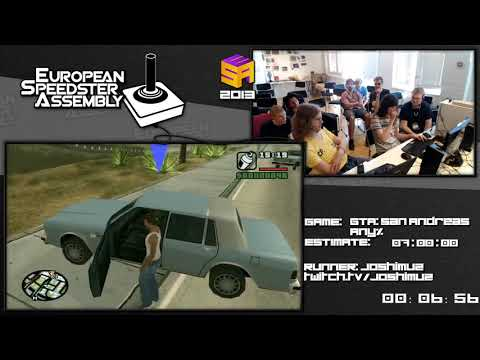 Part 1: GTA: San Andreas World Record in 6:12:14 by Joshimuz Live European Speedster Assembly 2013