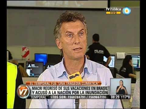 """Visión 7: Macri: """"el temporal fue una tragedia climática"""""""