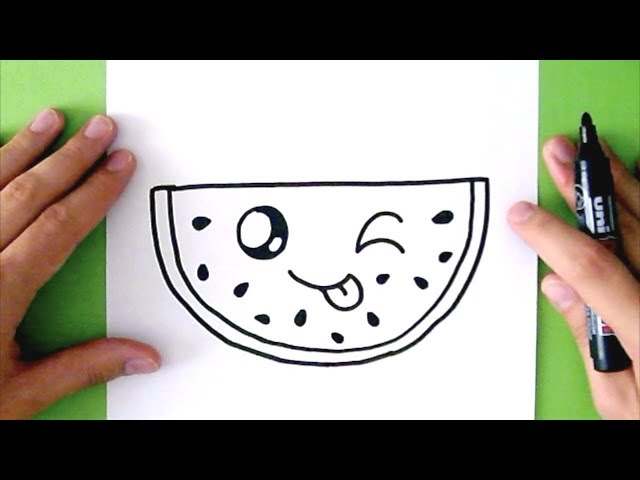Play this video HOW TO DRAW A CUTE WATERMELON - SUPER EASY