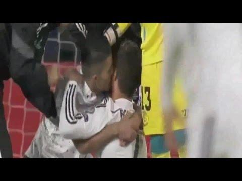 Fan Hugs and Kisses Cristiano Ronaldo at Real Madrid vs Sevilla - UEFA Super Cup 2014