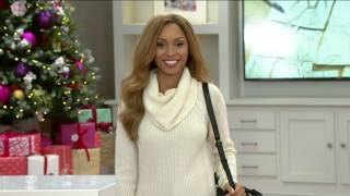 Isaac Mizrahi Live! 2-Ply Cashmere Cowl Neck Cable Knit Sweater on QVC
